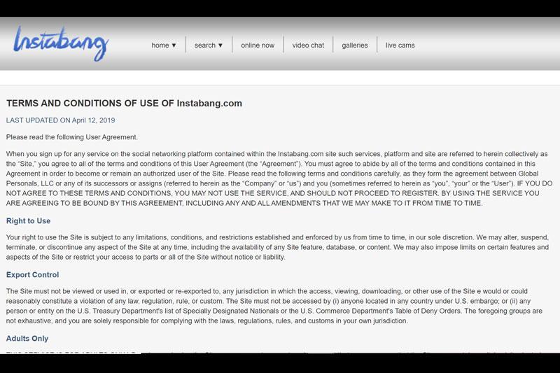 Instabang.com terms